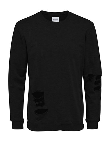 Only And Sons New Freeman Destroyed Sweatshirt-BLACK-X-Large