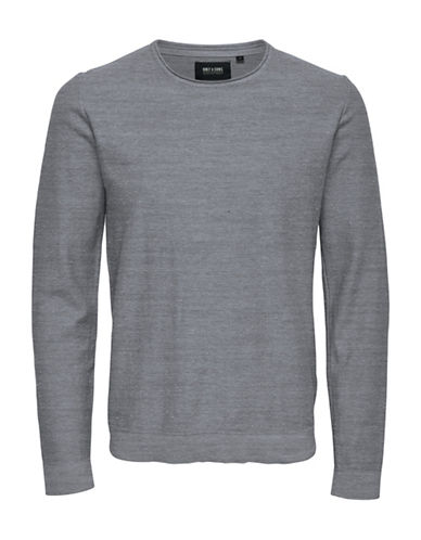 Only And Sons Crew Neck Pocket Trim Pullover-GREY-XX-Large