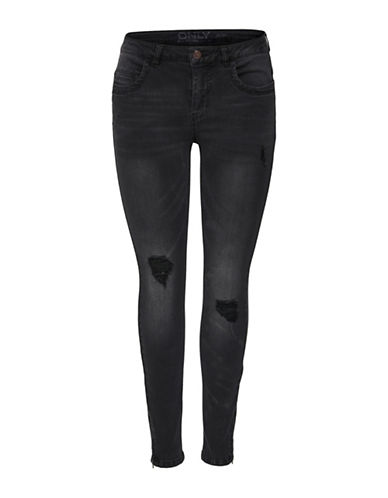 Only Distressed Ankle Jeans-BLACK-29 32