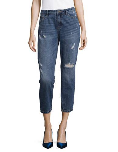 Only Distressed Boyfriend Jeans-BLUE-28 32