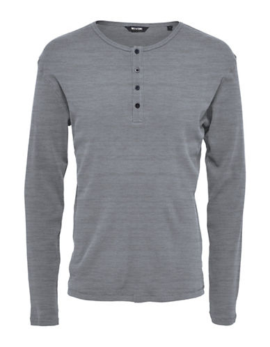 Only And Sons Onshiam Grandad Cotton Henley-GREY-Large