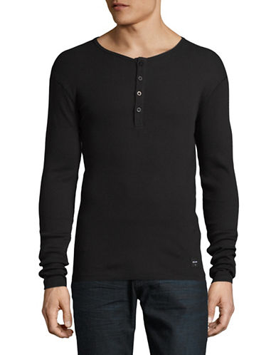 Only And Sons Onshiam Grandad Cotton Henley-BLACK-XX-Large
