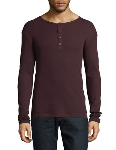 Only And Sons Onshiam Grandad Cotton Henley-RED-X-Large