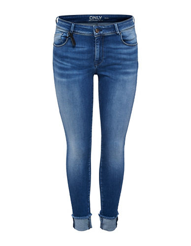 Only Raw Edged Ankle Jeans-MEDIUM BLUE-30 32