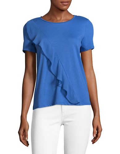 Only onlTASCHA Ruffle-Detail Top-BLUE-Medium