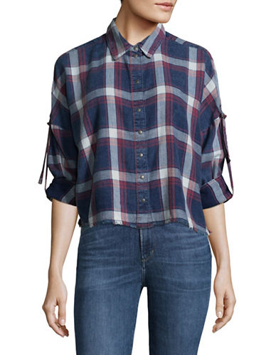 Only Check Denim Cropped Shirt-BLUE MULTI-36