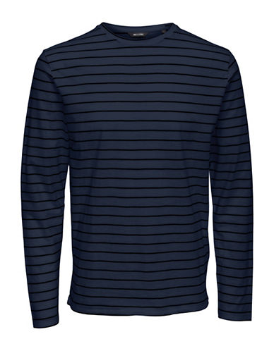 Only And Sons Long Sleeve Striped Tee-BLUE-XX-Large