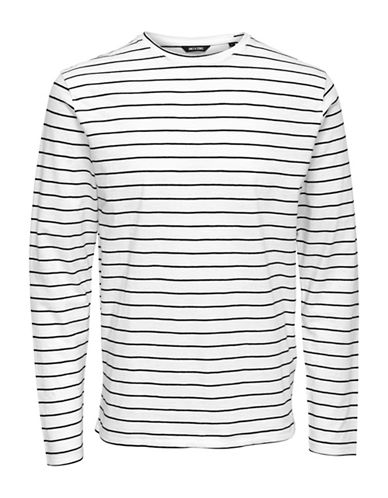 Only And Sons Long Sleeve Striped Tee-WHITE-Small