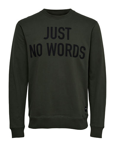 Only And Sons Word-Print Crew Neck Sweatshirt-GREEN-Medium