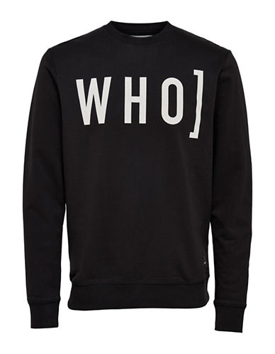 Only And Sons Word-Print Crew Neck Sweatshirt-BLACK-XX-Large