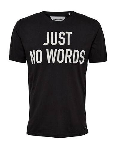 Only And Sons Word Print Crew Neck Tee-BLACK-Large