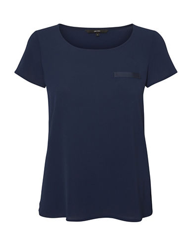 Vero Moda Round Neck Short Sleeve Tee-BLUE-X-Small
