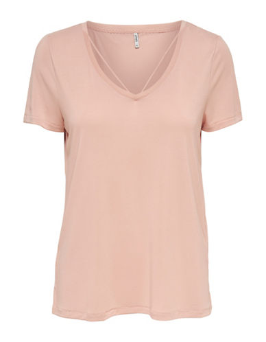Only Miley Strappy V-Neck T-Shirt-CAMEO ROSE-Small