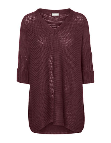 Noisy May Vera V-Neck Top-ZINFANDEL-Small
