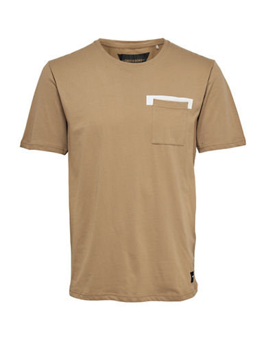 Only And Sons Printed-Pocket Crew Neck Tee-BROWN-Small