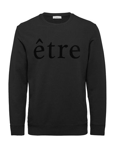 Selected Homme Flock Crew Neck Sweatshirt-BLACK-Small
