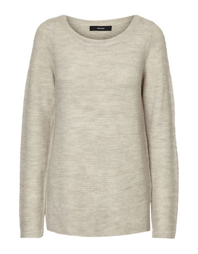 Vero Moda Knitted Boat Neck Sweater-LIGHT GREY-X-Small