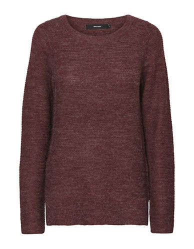 Vero Moda Knitted Boat Neck Sweater-PURPLE-Medium