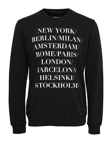 Only And Sons Word-Print Crew Neck Sweatshirt-BLACK-X-Large 89334805_BLACK_X-Large