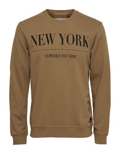 Only And Sons Word-Print Crew Neck Sweatshirt-BROWN-Large