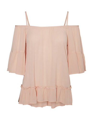 Vero Moda Vmbom Off-Shoulder Ruffle Top-PINK-X-Small 89174611_PINK_X-Small