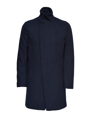 Only And Sons Asymmetrical Stand Collar Coat-BLUE-X-Large