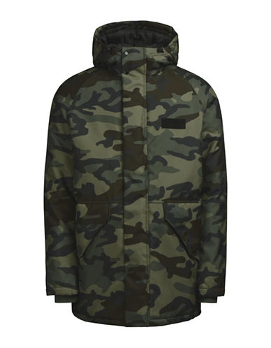 Jack & Jones Hooded Camouflage Parka-GREEN-Small