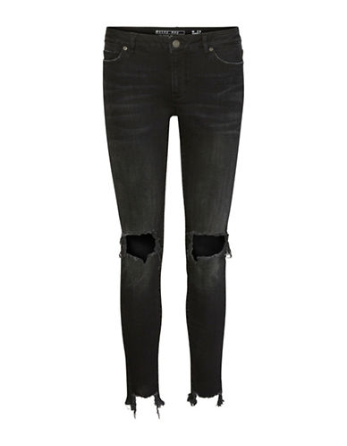 Noisy May Lucy Destroyed Ankle Jeans-BLACK-29X32