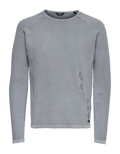 Only And Sons Distressed Knit Shirt-GREY-Large