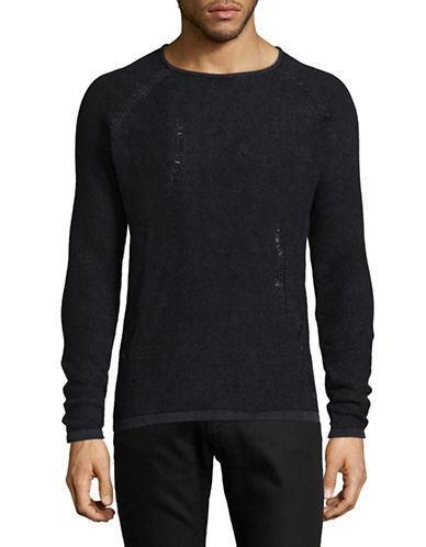 Only And Sons Knitted Destroyed Cotton Pullover-BLACK-X-Large