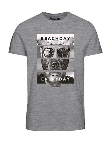 Jack & Jones Beach Day Everyday Cotton T-Shirt-GREY-Large