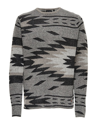 Only And Sons Jacquard Knitted Pullover Sweater-GREY-Small