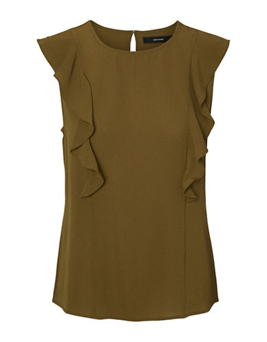 Vero Moda Maxine Ruffle Midi Top-BROWN-Large