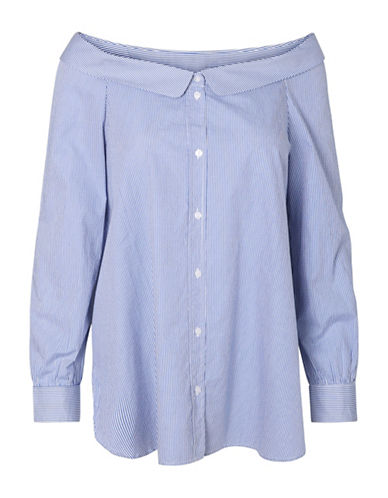 Vero Moda Cotton Boat Neck Shirt-BLUE-Large