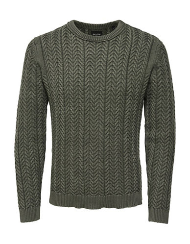 Only And Sons Washed Out Knitted Pullover Cotton Sweater-GREEN-Small