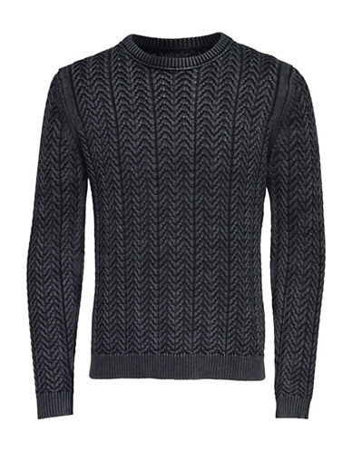 Only And Sons Washed Out Knitted Pullover Cotton Sweater-BLACK-X-Large