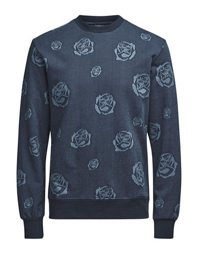 Jack & Jones Rose Cotton Sweater-BLUE-Medium