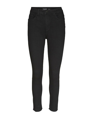 Vero Moda Frayed Cotton Pants-BLACK-Medium