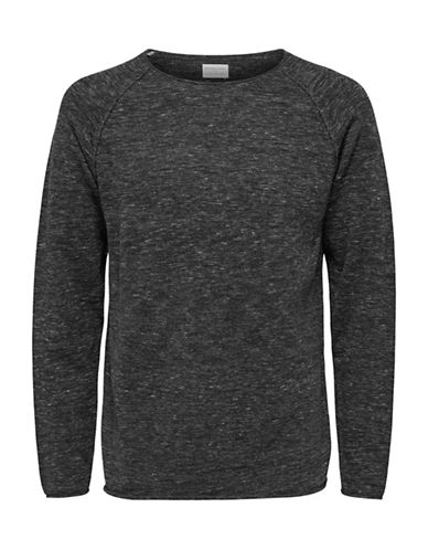 Selected Homme Crew Neck Cotton Tee-GREY-Large 89694507_GREY_Large
