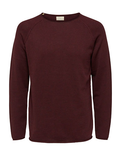 Selected Homme Crew Neck Cotton Tee-BURGUNDY-Large