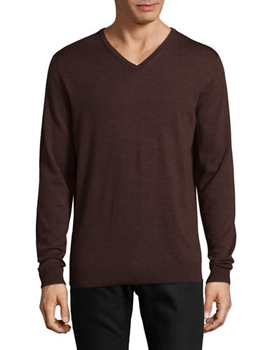 Selected Homme Merino Wool V-Neck Sweater-RED-Medium