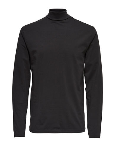 Only And Sons Slim-Fit Turtleneck Tee-BLACK-XX-Large