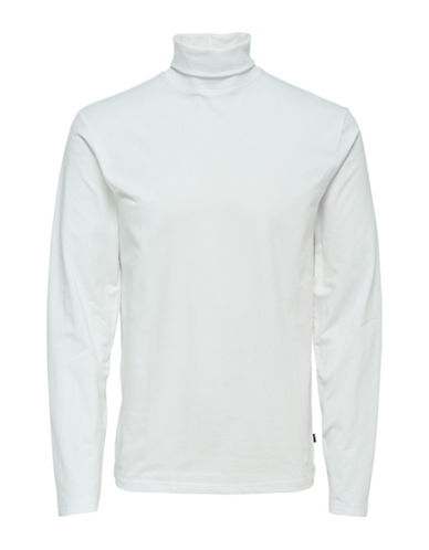 Only And Sons Slim-Fit Turtleneck Tee-WHITE-Large