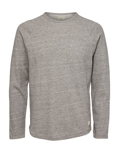Selected Homme Heathered Long-Sleeve Tee-GREY-Medium 89615195_GREY_Medium