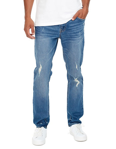Jack & Jones Distressed Slim-Fit Jeans-BLUE-33X34