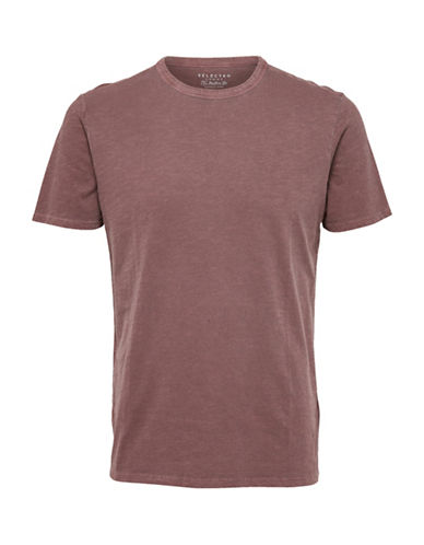 Selected Homme Overdye O-Neck Tee-BROWN-Medium