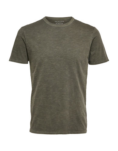 Selected Homme Overdye O-Neck Tee-GREEN-Medium