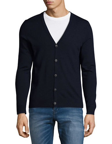 Jack And Jones Premium Merino Wool Cardigan-DARK BLUE-Large