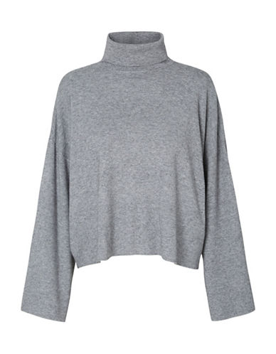 Noisy May Ship Long-Sleeve Roll Neck Top-MEDIUM GREY-X-Small