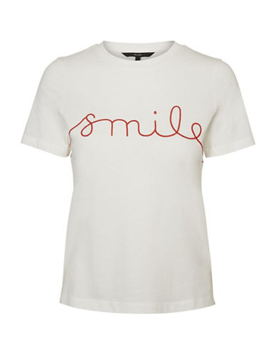 Vero Moda Cotton Short Sleeve Tee-WHITE-Small